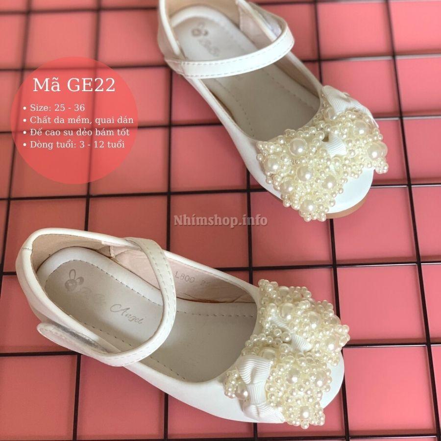 Giày búp bê bé gái 3 - 12 tuổi màu trắng da mềm đế chống trơn đi học đi  chơi điệu đà và duyên dáng GE22