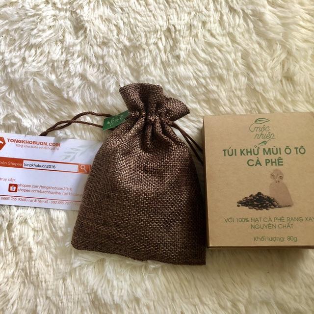 Túi thơm khử mùi ô tô Cà phê Mộc Nhiên - Mua 3 tặng 1 tinh dầu treo xe