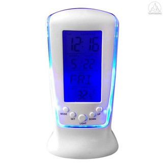 Tfh★Calendar Clocks Digital LED Clock Desk Clock Bedside Temperature Music Lighting Multi-function Lazy Alarm Clock with