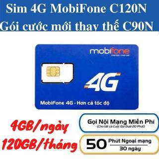 Sim 4G Mobifone giá rẻ, dùng đăng ký gói C120N có 120GB tháng, nghe gọi miễn phí không giới hạn thumbnail