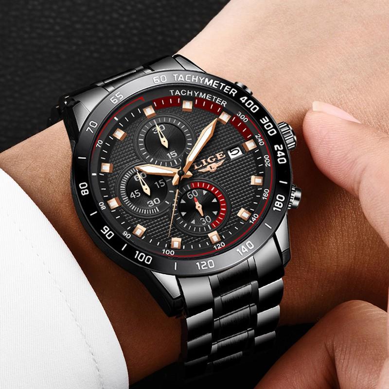 LIGE Men's 9994 Fashion Black Stainless Steel Waterproof Quartz Watch