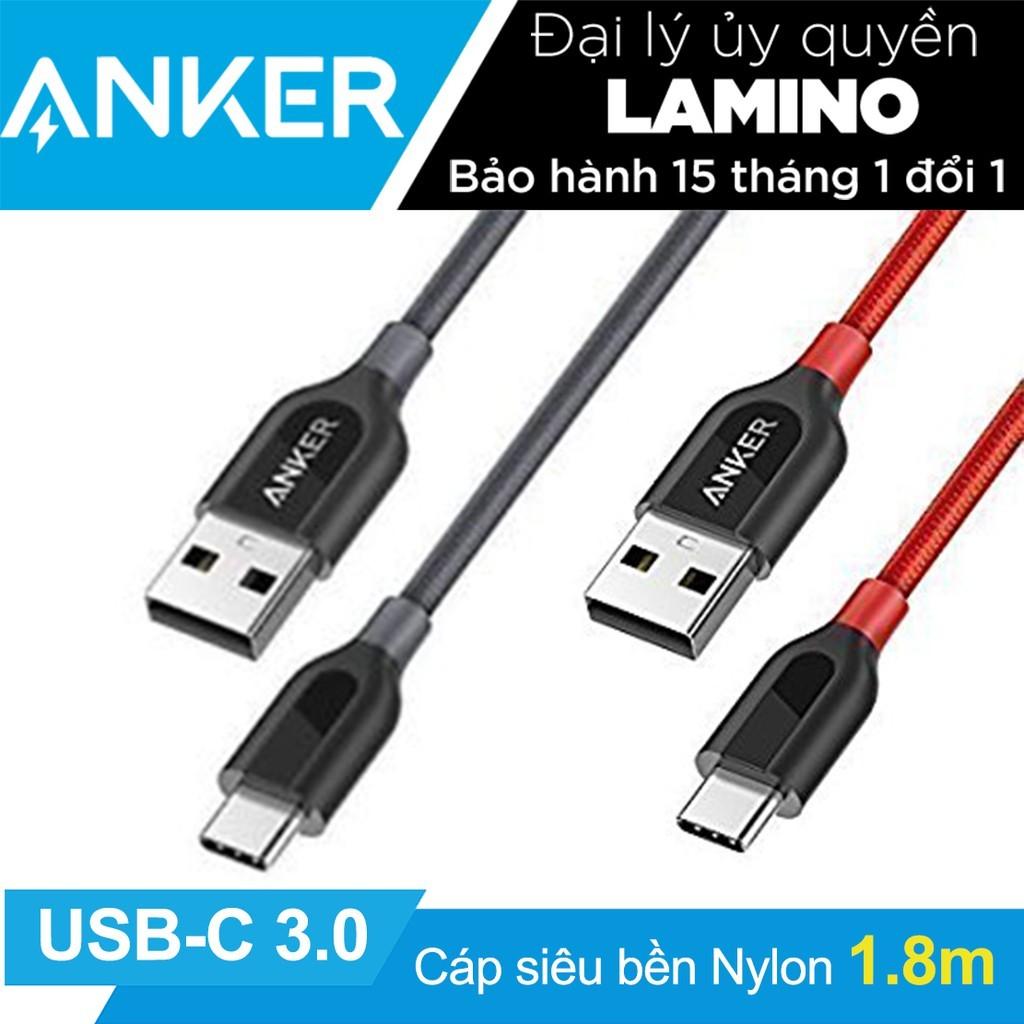 Cáp siêu bền Type C ANKER PowerLine+ USB-C ra USB 3.0 dài 1.8m - Hãng phân phối chính thức