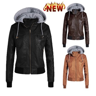 Winter Leather Jacket Hooded Detachable Zipper Jacket In Black Plus Size Leather
