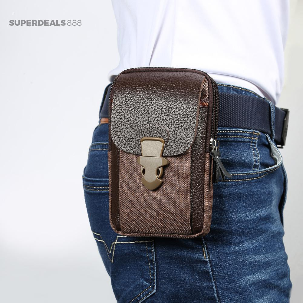 Túi lưu trữ điện thoại 6 inch đa năng đeo thắt lưng cá tính cho nam
