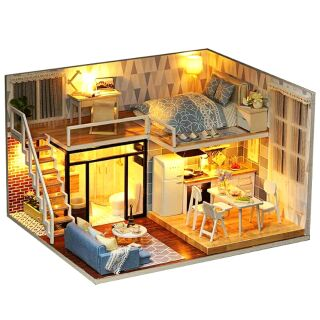 Kèm Mica và keo dán – Mô hình nhà gỗ búp bê dollhouse DIY – L023 Blue Time