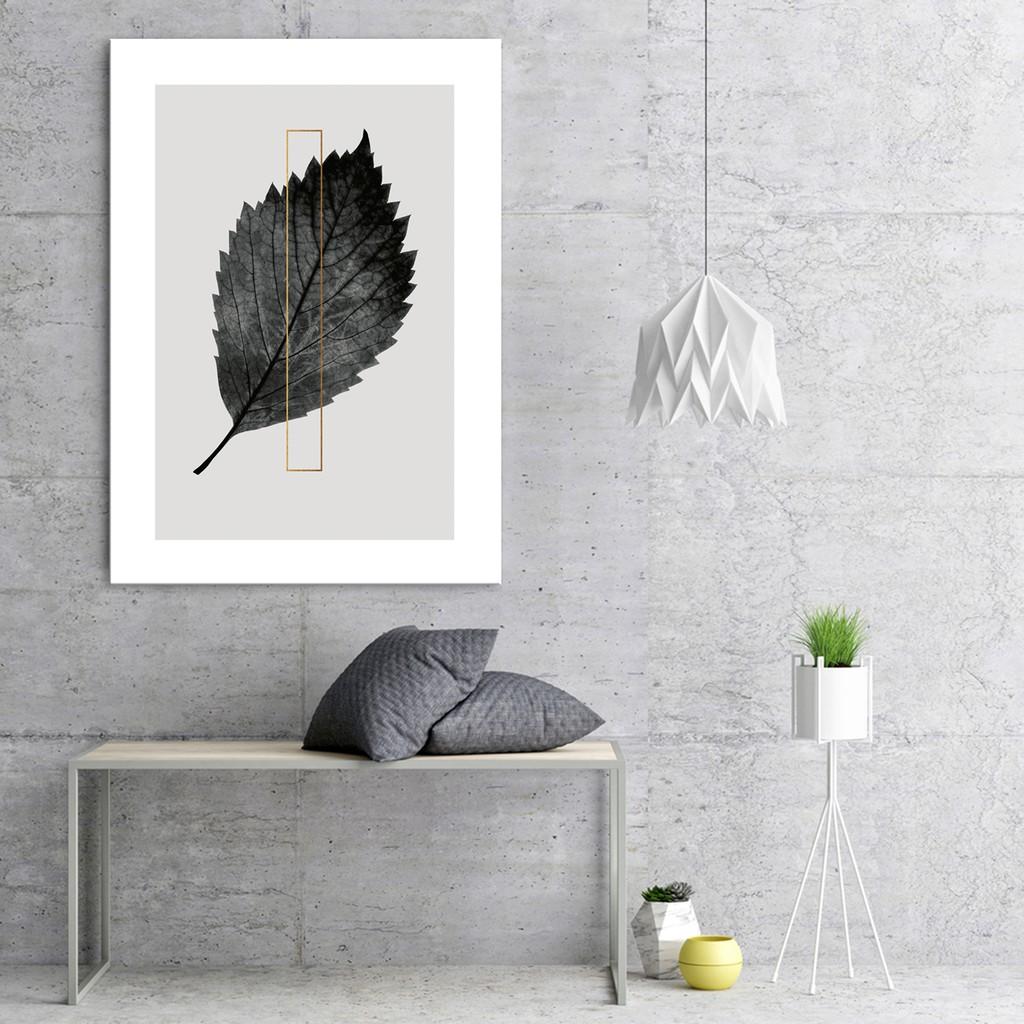 Tranh treo tường lá trắng đen, Chất liệu Canvas.