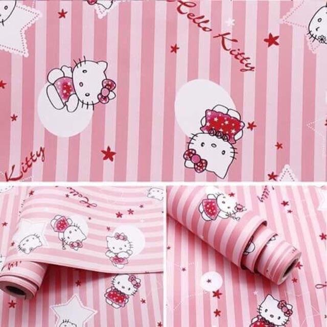10 mét giấy dán tường kitty hồng khổ rộng 45 cm