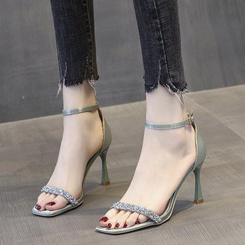 (Bảo hành 12 tháng) Giày sandal cao gót nữ quai ngang đính đá gót kiểu -Giày cao gót nữ 7cm da mềm cao cấp - Linus LN273