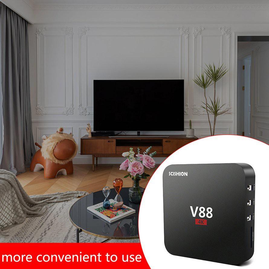 ⚡Bộ Tv Box Thông Minh V88 4k Quad-core 2G + 16Gb Wifi Media Player