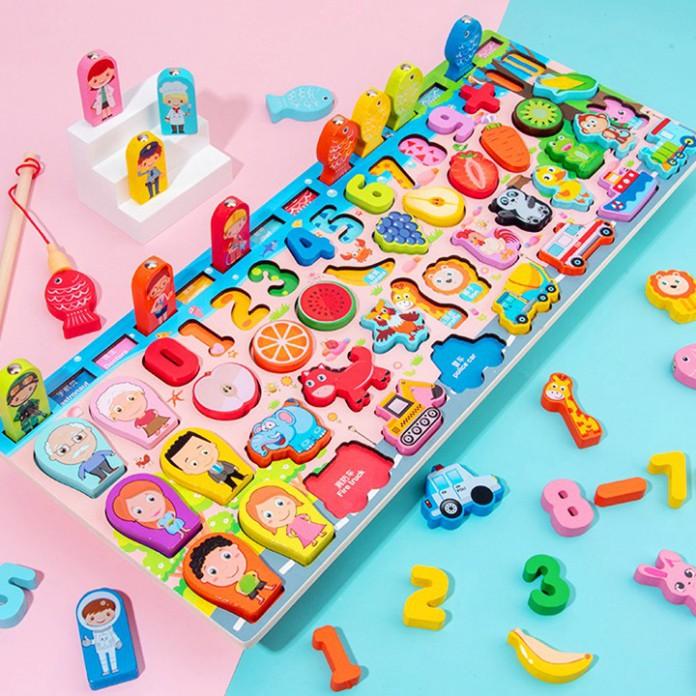 Bộ đồ chơi câu cá gỗ trí tuệ 63 chi tiết phối hợp nhiều chủ đề màu sắc bắt mắt cho bé vừa học vừa chơi BBShine – DC027