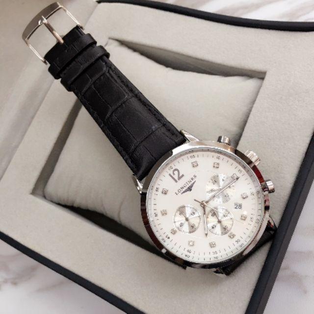 นาฬิกาข้อมือควอตซ์สายหนัง 6 pin สําหรับผู้ชาย