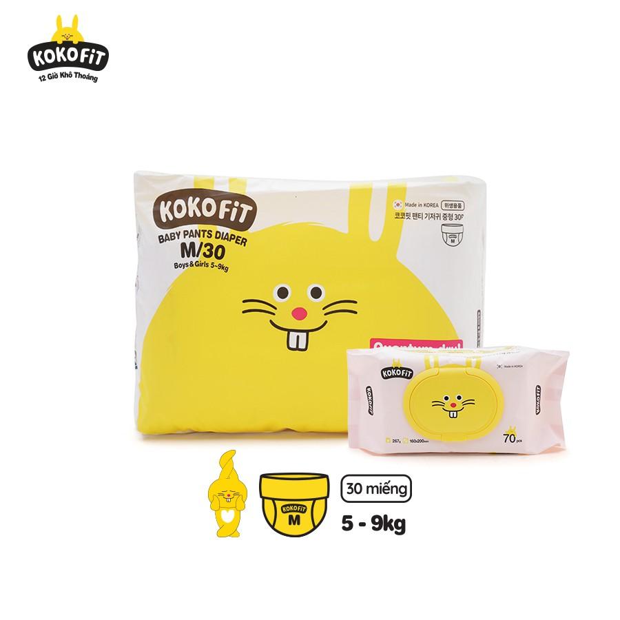 [Tặng khăn ướt] - Tã/Bỉm quần KOKOFiT Hàn Quốc size M30/L26/XL22/Jumbo18