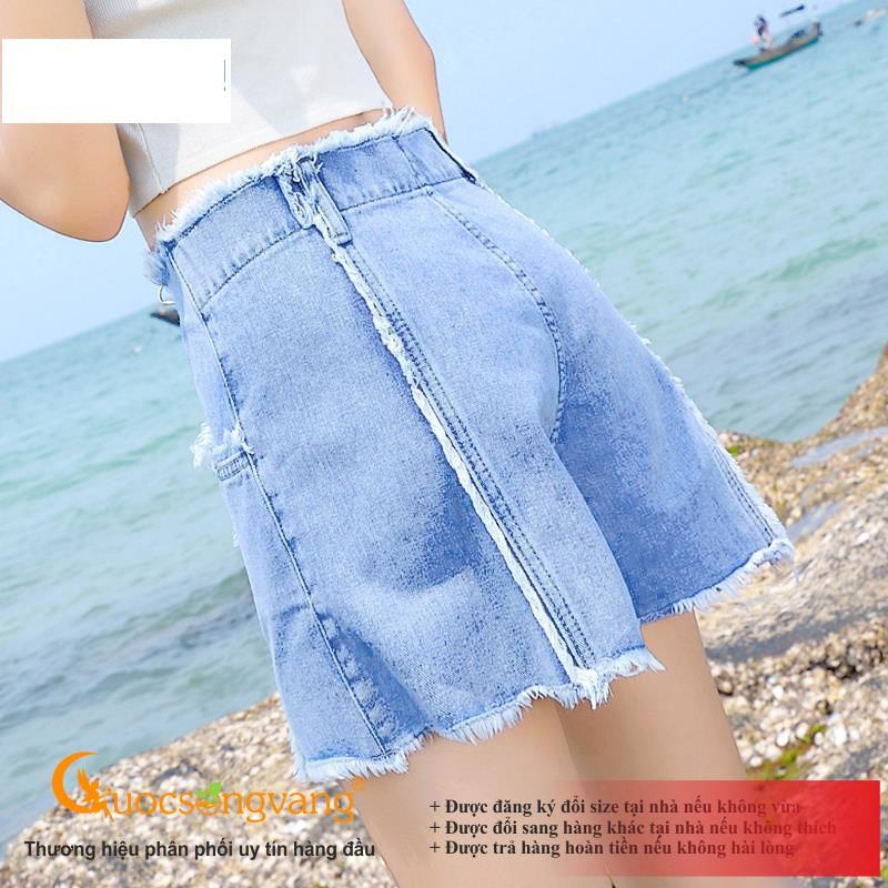 Quần short nữ xanh nhạt quần đùi jean nữ xanh da trời GLQ120