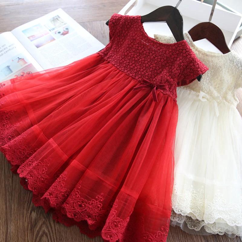 Đầm Xòe Công Chúa Phối Ren Cho Bé Gái