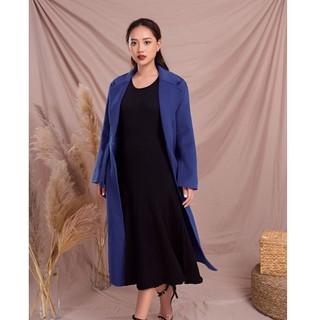 Áo măng tô dạ xanh lông cừu Elise thumbnail