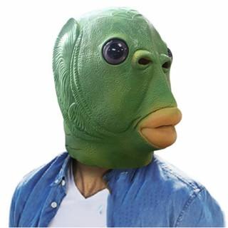 Mặt nạ trùm đầu hóa trang quái vật đầu cá màu xanh lá phù hợp cho Halloween thumbnail