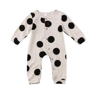 H-C★Newborn Baby Infant Long Sleeve Clothes Button Romper Jumpsuit Round Neck Clothes New Style