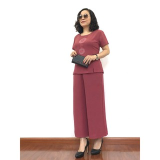 Bộ đồ thời trang quần áo ống rộng trung niên cho mẹ chất đũi thoáng mát TH01