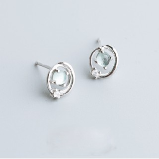 Khuyên Tai Bạc | Khuyên Tai Nữ Hình Quả Đia Cầu Bạc 925 Đính Đá Màu Xanh Cho Nữ - B2427 - Bảo Ngọc jewelry