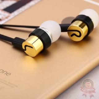 Tai nghe in ear bọc kim loại cao cấp dây cao su chất âm tạm bass ấm | Tai nghe nhét tai không kèm mic jack 3.5 mm