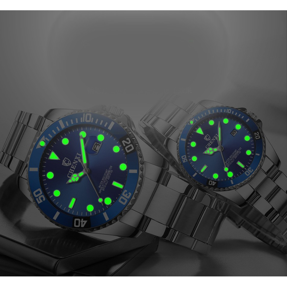 Đồng hồ nam CHENXI dạ quang chống nước dây thép mẫu mới 2019