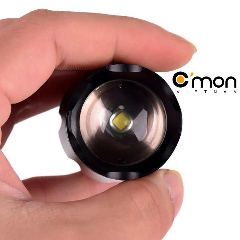 Bộ 1 đèn pin siêu sáng C'MON GUARD XML-T6 10w chiếu xa 500m + 1 pin sạc 18650 + 1 cục sạc + giá gắn xe đạp (đen)