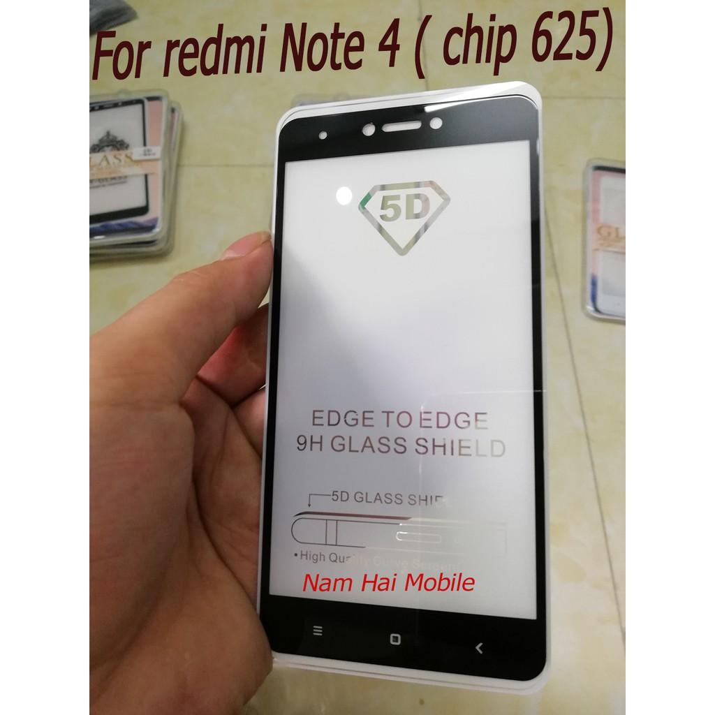 Kính cường lực 5D cho redmi Note 4 ( chip 625 ) full keo