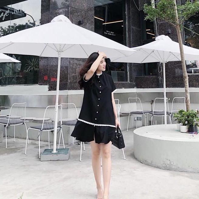 Mặc gì đẹp: Dễ chịu với Váy Bầu Mùa Hè - Đầm Bầu Thiết Kế Cho Con Ti Sau Sinh Đuôi Cá Đen Cổ Nhún HD08