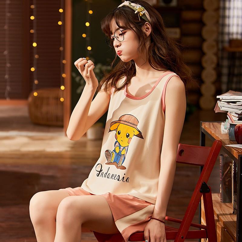 Mặc gì đẹp: Gọn tiện với Bộ Đồ Ngủ Nữ Quần Áo Ba Lỗ Mặc Ở Nhà Mùa Hè Xinh - Váy Dáng Hàn Quốc BĐN10