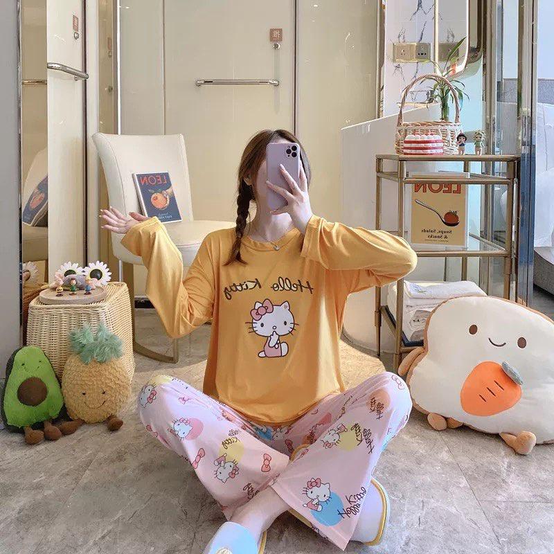 Mặc gì đẹp: Gọn tiện với [Sẵn] Đồ bộ thun tay dài Quảng Châu, pijama quần dài, đồ mặc ở nhà họa tiết hoạt hình dễ thương