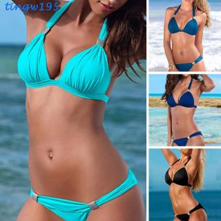 2PCS/set Women Sexy Solid Color Fashion Bikini Swimming Suit