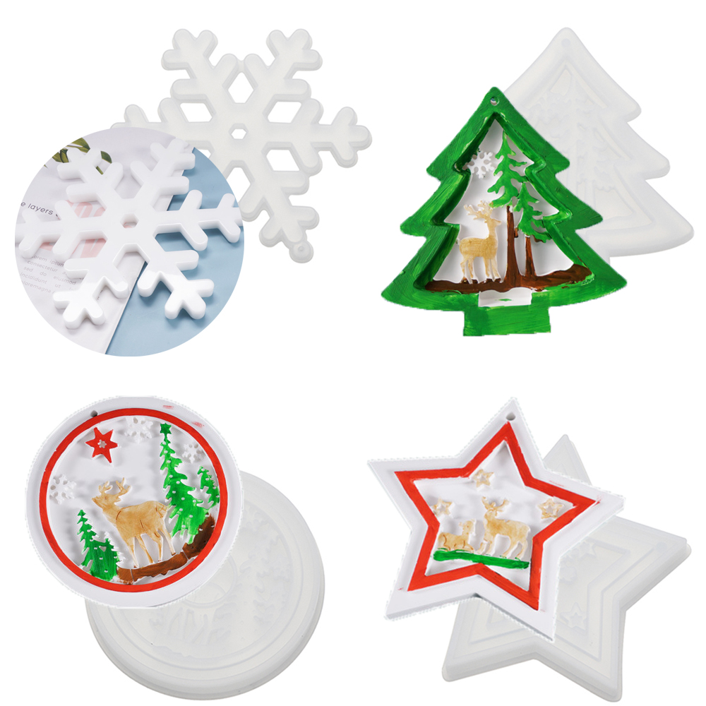JANE DIY Pendant Epoxy Resin Molds Elk Silicone Mould|Resin Mold Hanging Tags Christmas Tree Jewelry Making Tools Bag Decoration Xmas...