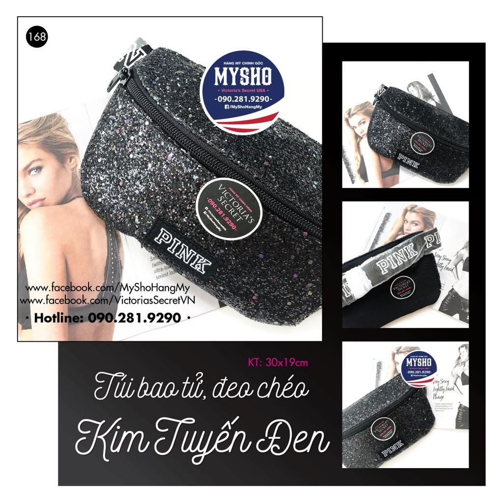 Túi bao tử đeo chéo kim tuyến màu đen (168) - Hàng nhập Pink, Victoria's Secret USA