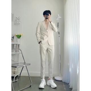 set Vest trắng blazer