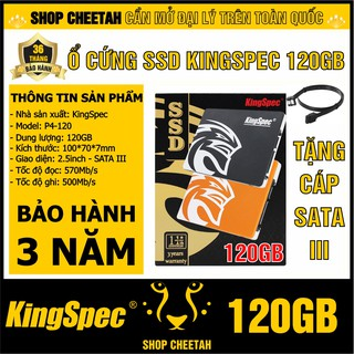 Ổ cứng SSD KingSpec 120GB – CHÍNH HÃNG – Bảo hành 3 năm – SSD 120GB – Tặng cáp dữ liệu Sata 3.0