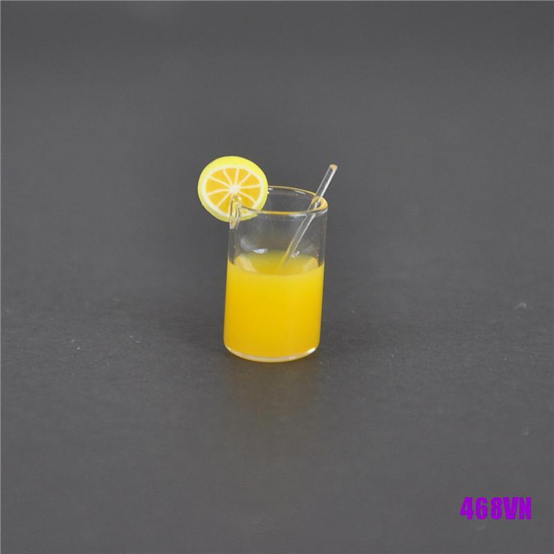 [DOU]2X Mini Lemon Water Cup Dollhouse Accessories Toy Mini Decor Gift 1:12