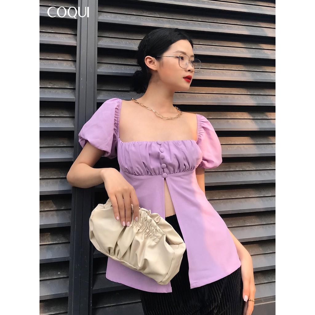 [COQUI] Áo Purple tay phồng nhún ngực xẻ eo