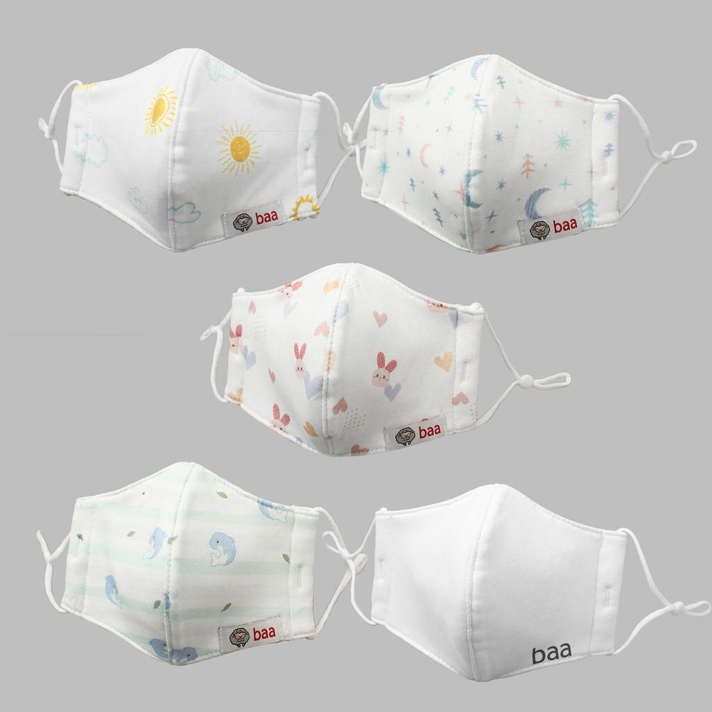 Combo 2 Khẩu trang vải trắng BAA BABY kháng khuẩn cho em bé - UN-KT02X