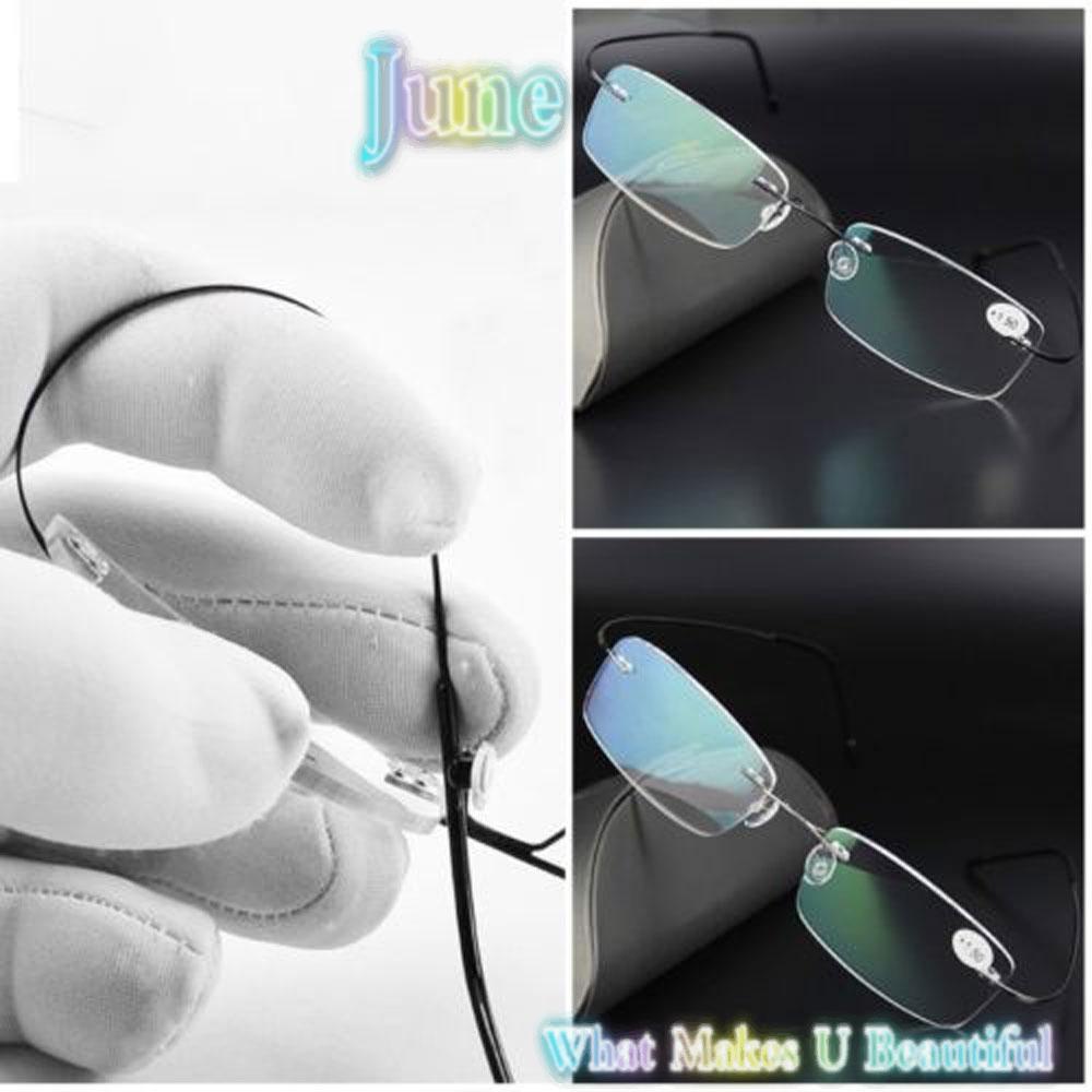 JUNE Health Care Reading Glasses Elder Memory Titanium Eyeglass Ultralight Rectangular Degree Spectacles Unisex Rimless/Multicolor