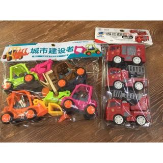 Bộ đồ chơi xe cứu hoả và xe công trường