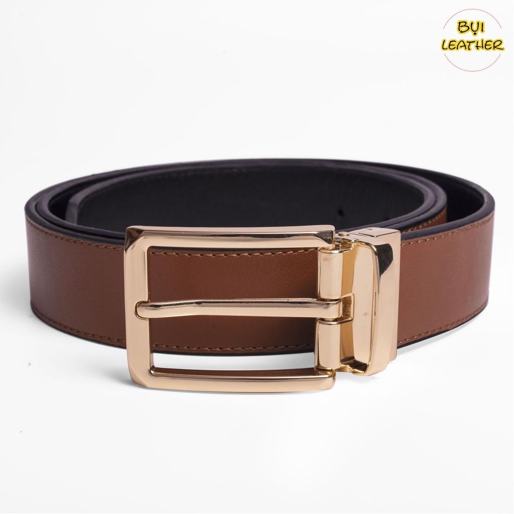 Thắt lưng nam da bò cao cấp Bụi Leather L108-khóa cài xoay dùng được cả 2 mặt dây