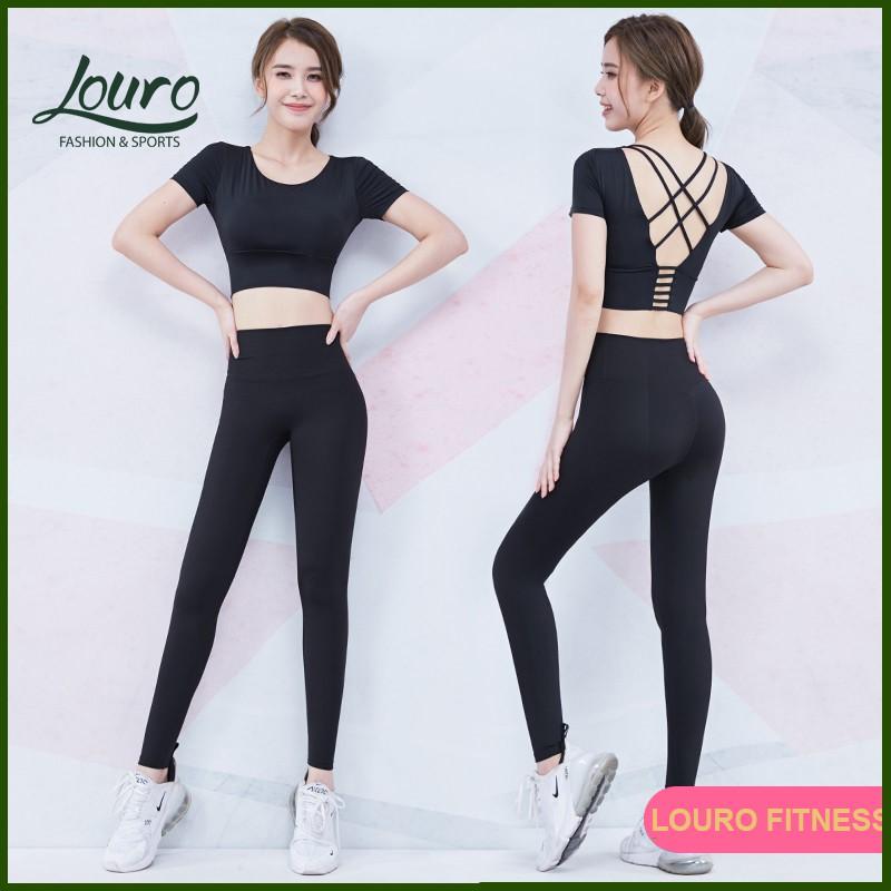 Bộ đồ tập gym, yoga nữ Louro FE43🌈FREESHIP🌈kiểu quần Body nữ và áo tập gym nữ ngắn tay, chất siêu đẹp, co giãn