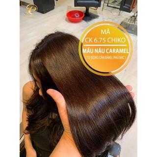 NÂU CARAMEL-Thuốc nhuộm tóc màu nâu caramel (CK 6.75)CHIKO  + TẶNG kèm trợ nhuộm+Hấp phục hồi