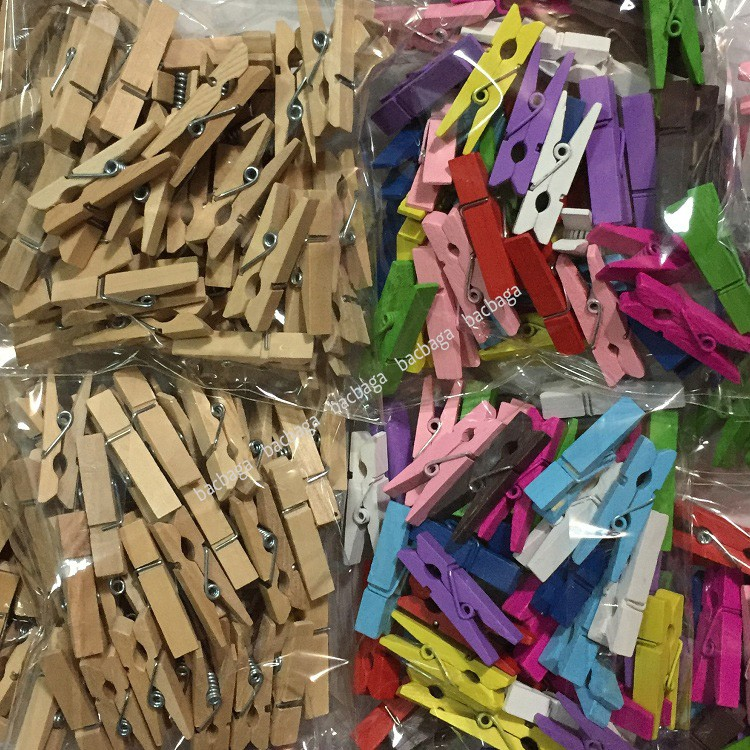 Set 50 kẹp gỗ trơn (không kèm dây)