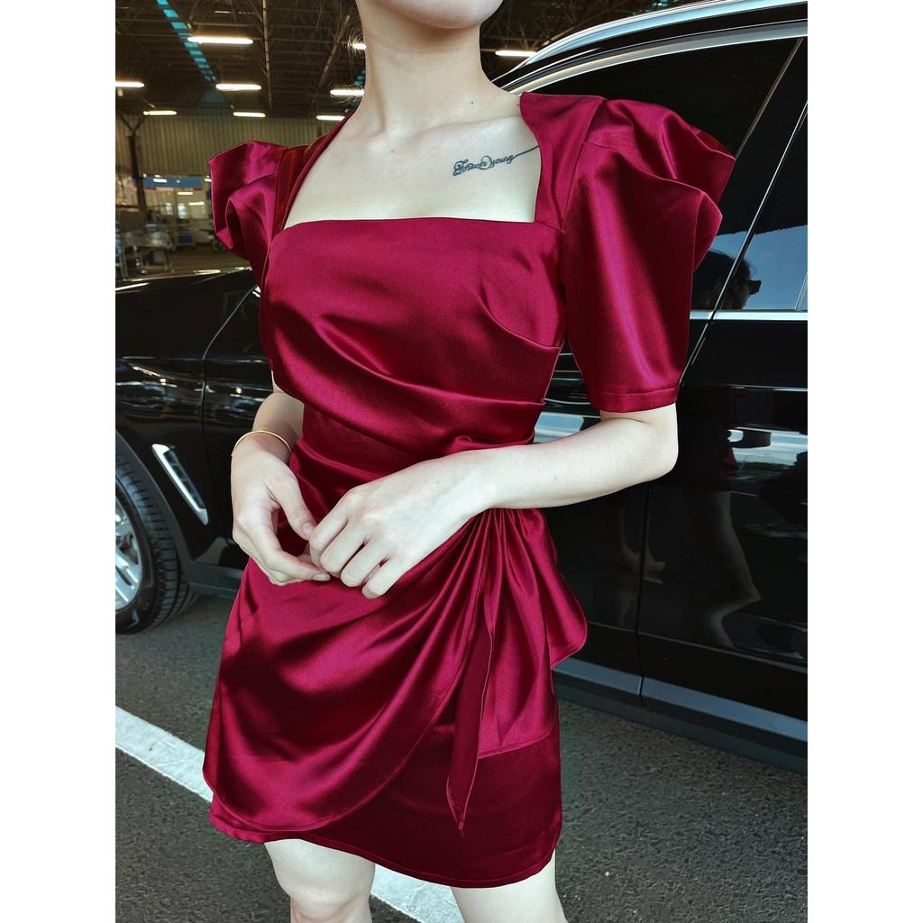 Mặc gì đẹp: Sang chảnh với Đầm dự tiệc, dạo phố cổ vuông tay bồng phối nơ bèo eo - Mã D37