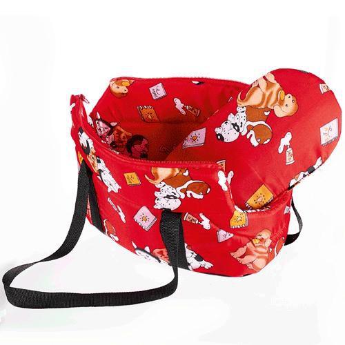 กระเป๋าสะพายน้องหมาลายการ์ตูน สีแดง