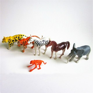 6PCS Plastic Zoo Animal Figure Tiger Leopard Monkey Elephant Kids Toy Gift
