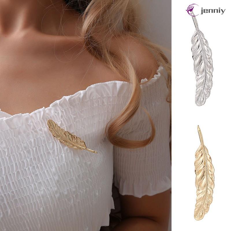 🌼JNY🌼 Retro Leaf Feather Brooch Pin Women Girls Jewelry Accessories Alloy Shawl Scarf Buckle