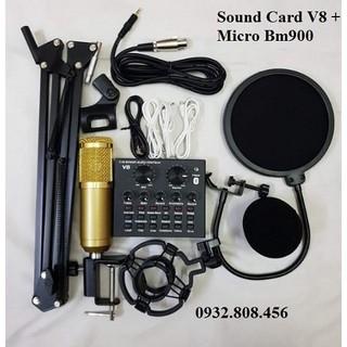 Trọn bộ Sound-card V8 + Micro BM900 chuyên livestream, thu âm