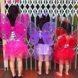 Cánh bướm kèm váy+bờm+gậy chơi trung thu cho bé (cánh kép,có đèn loại 1)
